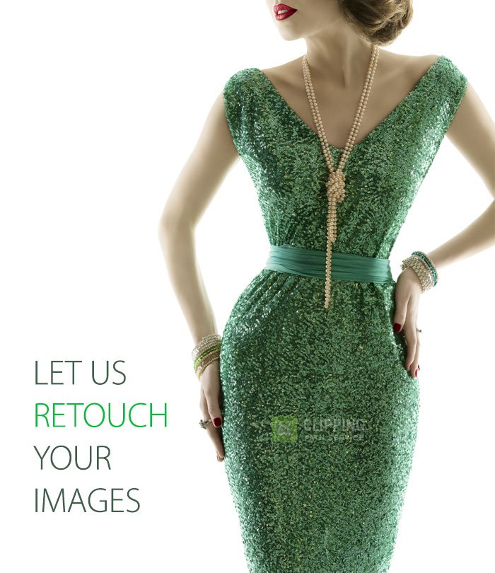 women in green sequence dress retouch
