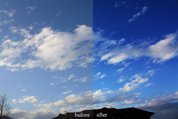 Blue sky before and after