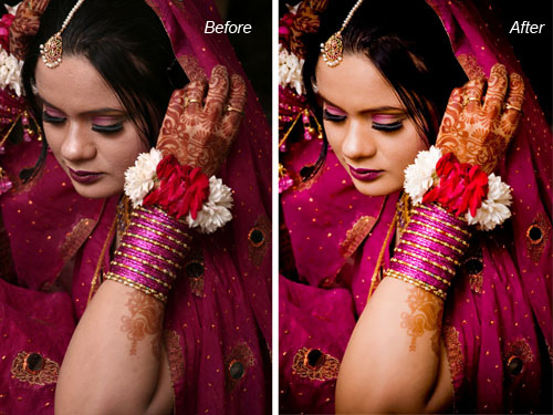 indian, bangladeshi bridal image before and after