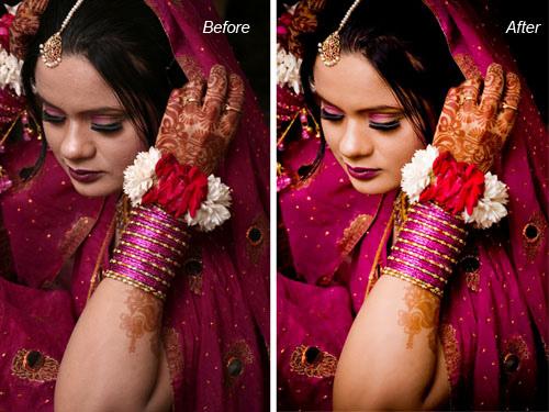 indian, bangladeshi bridal image before and after