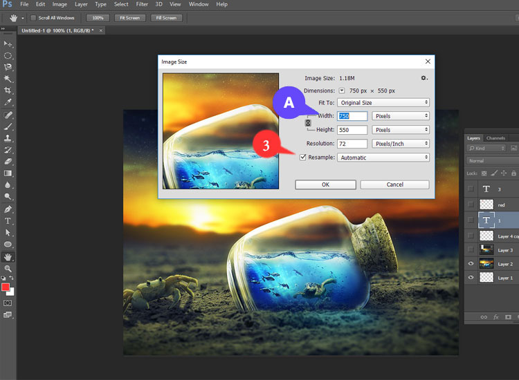 Follow A and 3 of resizing your image using Photoshop