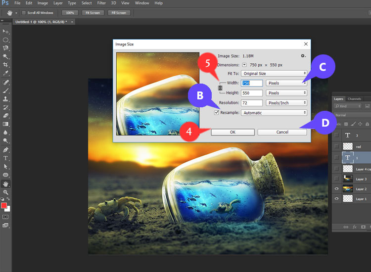 Follow several steps of resizing your image using Photoshop