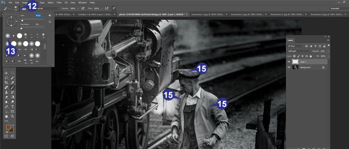 Step 12-15 of Hand-Tinting in Photoshop