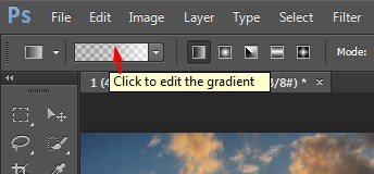 Showing the difference to open the gradient preset by hovering over the space