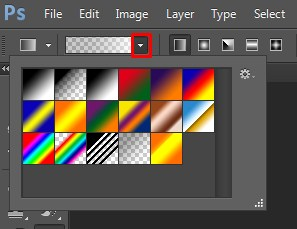 Selecting Gradient tool Presets