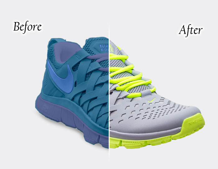 Showing Color correction of the shoe before and after result