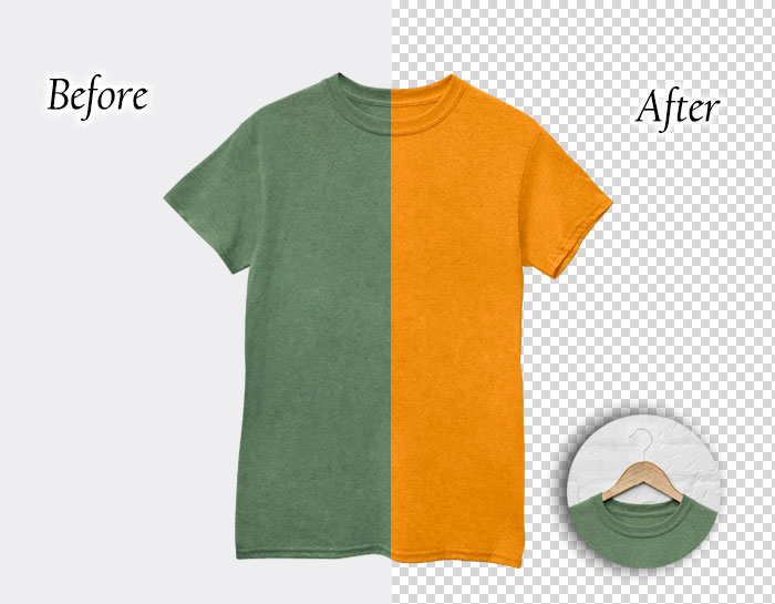 color correction by clippingpathservice team of a T-Shirt