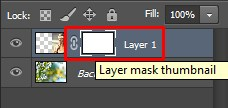 Layer mask thumbnail with a chain beside it