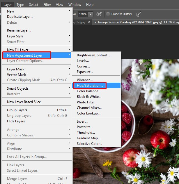 Turn the image into Black and White by choosing Layer- Layer adjustment - Hue/Saturation