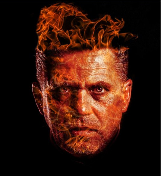 A man Face Burning in Fire effect