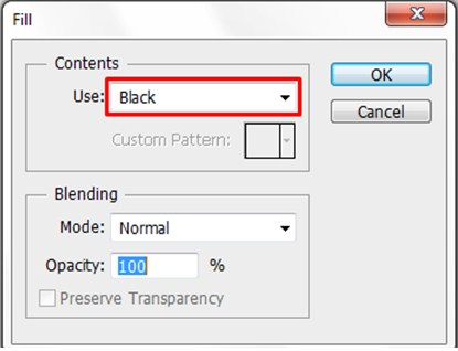 Selecting Black for the Contents option to fill the Canvass with black color