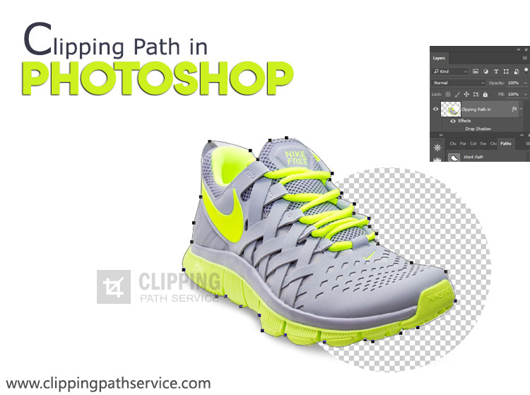 A shoe is shown with background remove with text Clipping Path in Photoshop