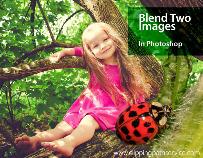 A little girl sitting on a branch having a ladybug beside