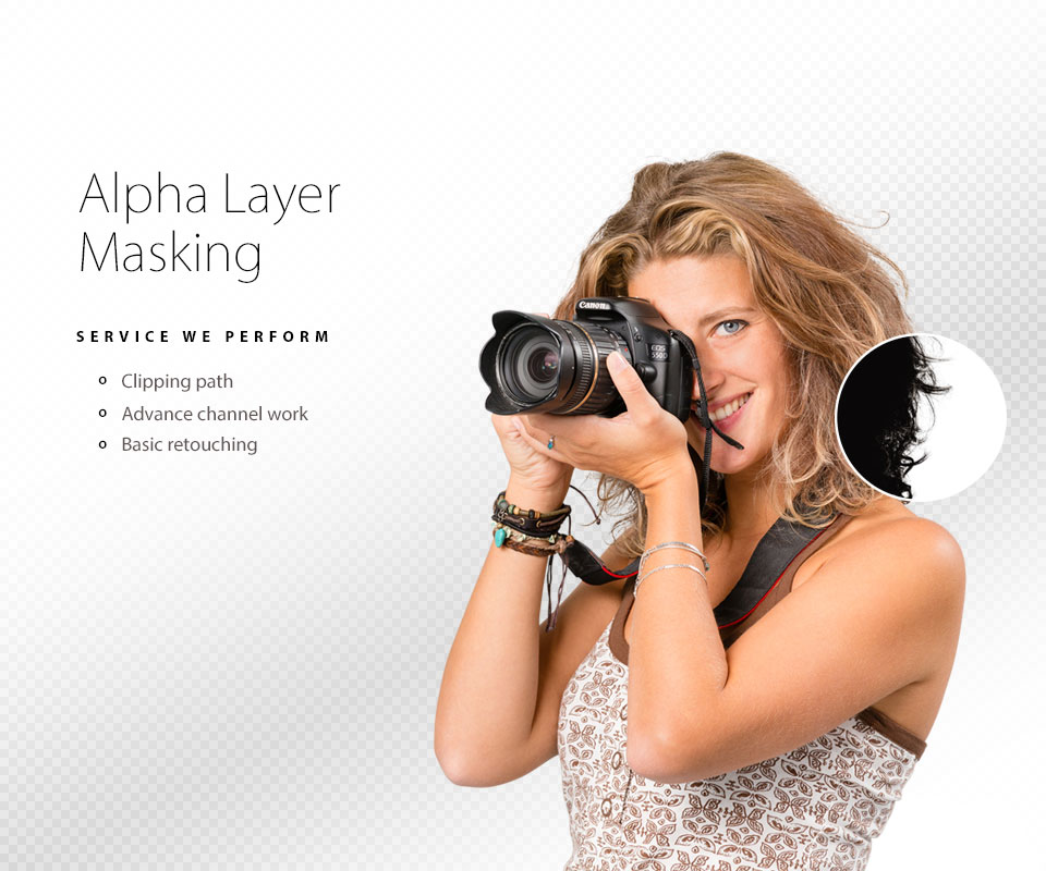 woman photographer with alpha layer masking effect