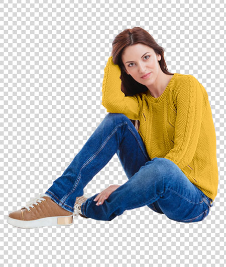 woman in yellow sweatshirt with Color Matching effect