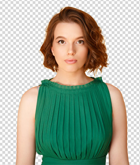 woman in green dress with masking