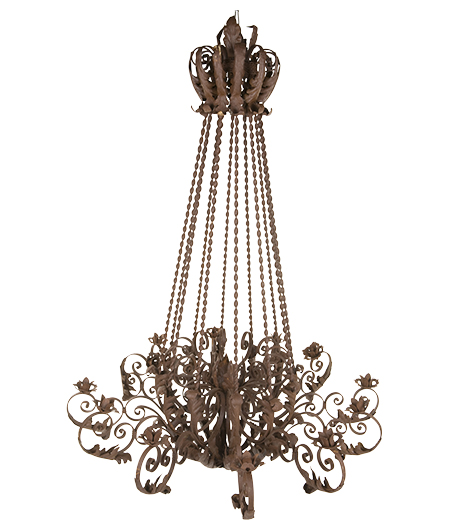 brass chandelier with white background