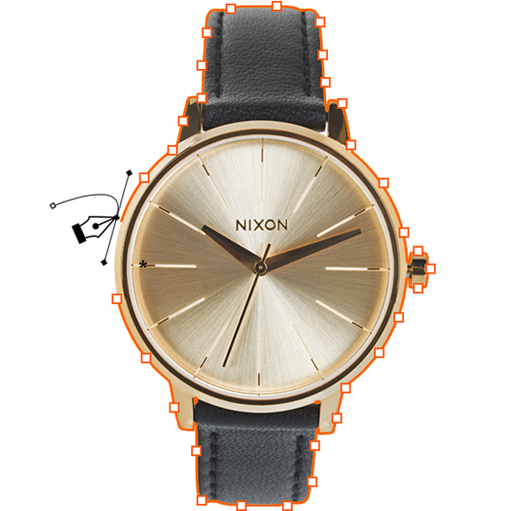 black and gold watch with clipping path outline