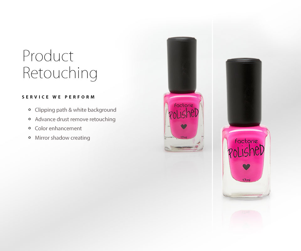 pink nail polish bottle with product retouch