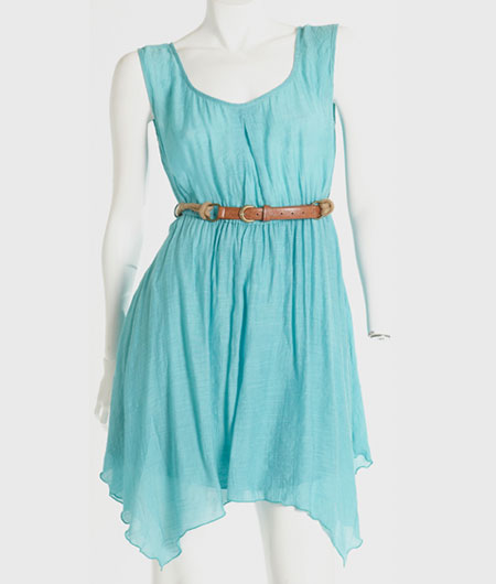 turquoise dress on mannequin