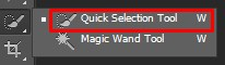 Selecting Quick Selection Tool from Photoshop