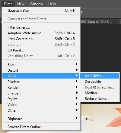 Selecting Filter-> Noise-> add noise on Photoshop