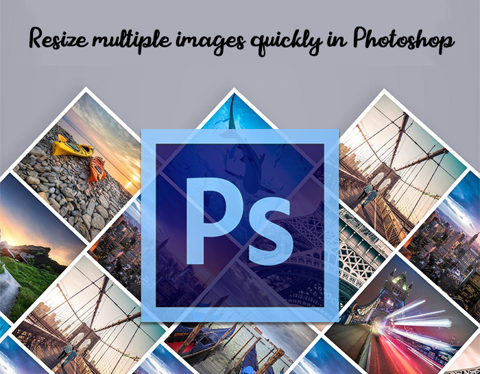 Resize multiple images quickly in Photoshop, large image with Photoshop symbol is drawn