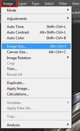 Selecting Image Image Size in Photoshop