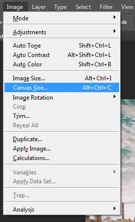 Selecting Canvas Size in Photoshop