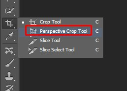 Selecting Perspective Crop Tool in Photoshop