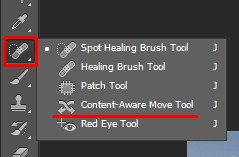 Selecting the Content Aware Move Tool in Photoshop