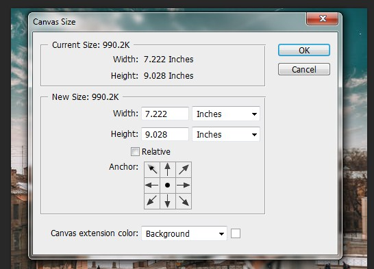 Adding image size to the original image in Photoshop