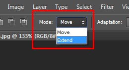 Two main modes Move & Extend in Photoshop
