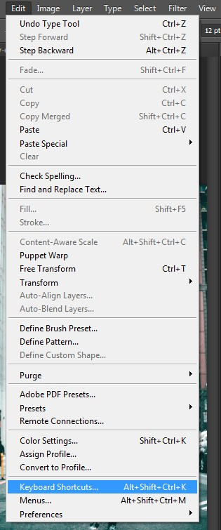 Selecting Keyboard Shortcuts from Edit Menu in Photoshop