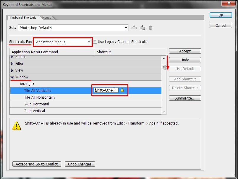 5. tweaking Keyboard shortcuts and Menus in Photoshop
