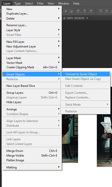 Choosing Convert to Smart Object option in Photoshop