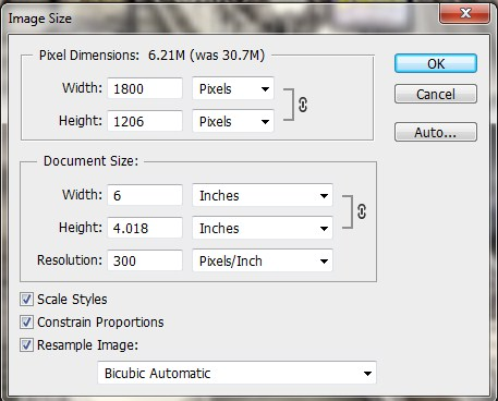Image Size Changes in Photoshop