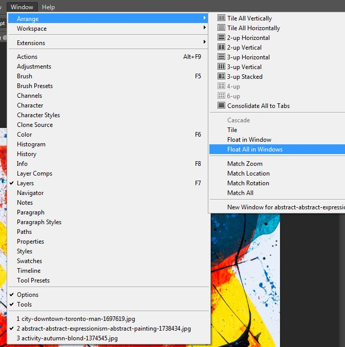 Selecting Float all Windows in Photoshop