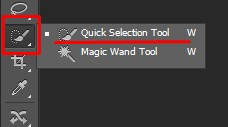 Selecting Quick Selection Tool in Photoshop
