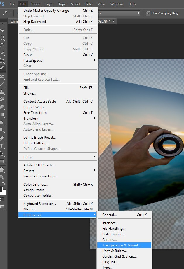 Close the Check board by choosing the Transparency & Gamut from Photoshop