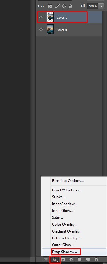 Selecting Drop Shadow in Photoshop