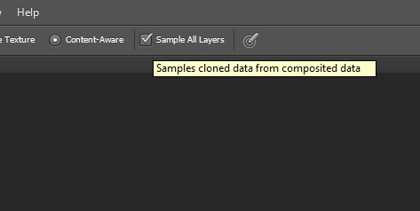 Select the Sample All Layers Option in Photoshop