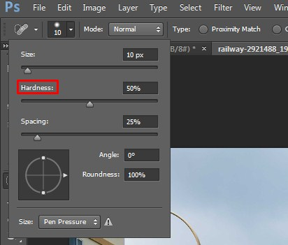 Reduce the Hardness of the Brush in Photoshop