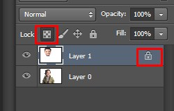 Click on the Lock icon in Photoshop