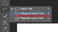 Select Polygonal Lasso Tool in Photoshop