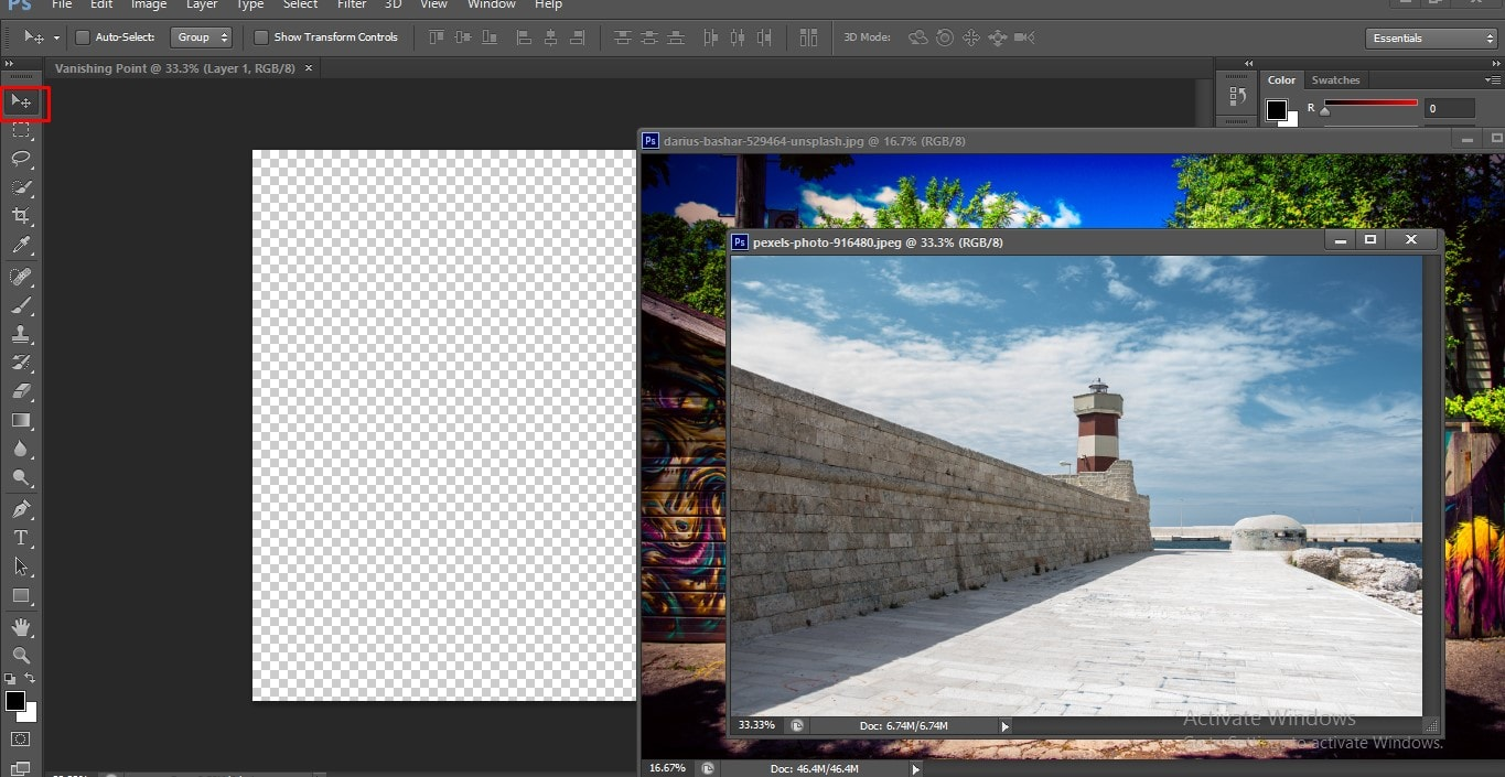 Select the Move Tool in Photoshop