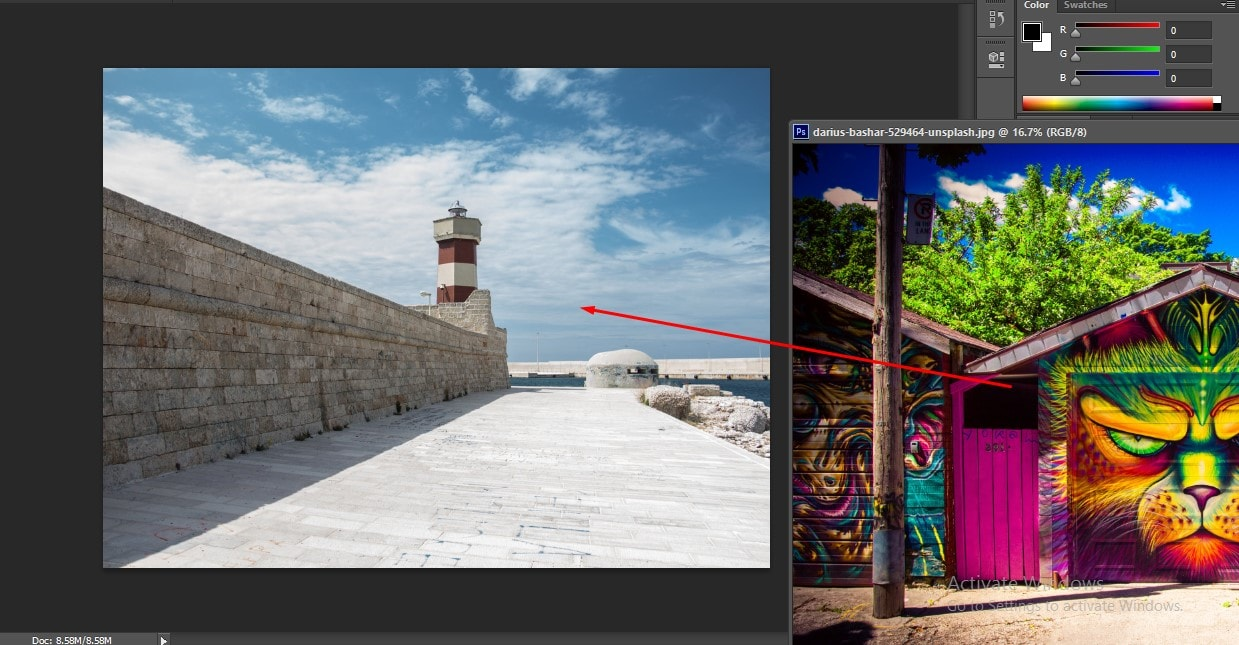 Drag the image on to the Transparent canvas in Photoshop
