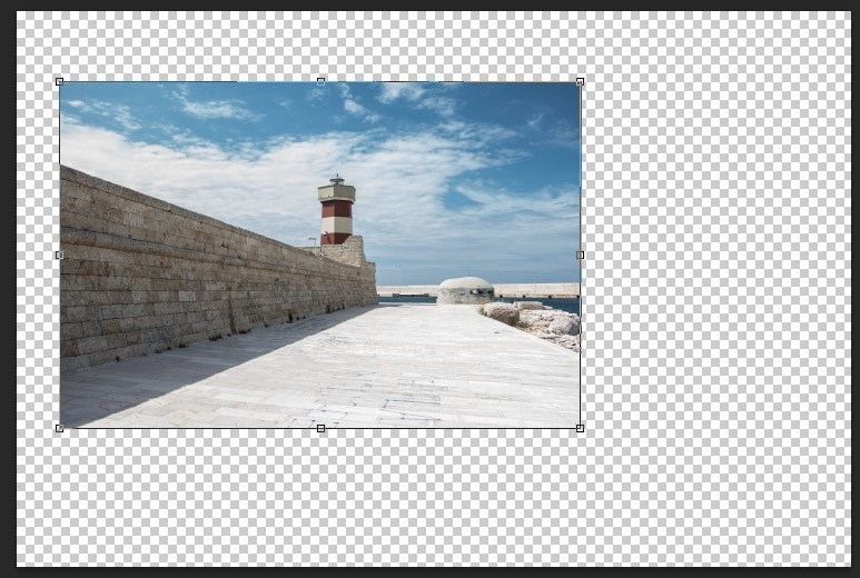 Press Ctrl + T to fit the proportion of the images in Photoshop