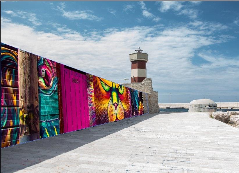 Applying the graffiti on the wall using vanishing point filter