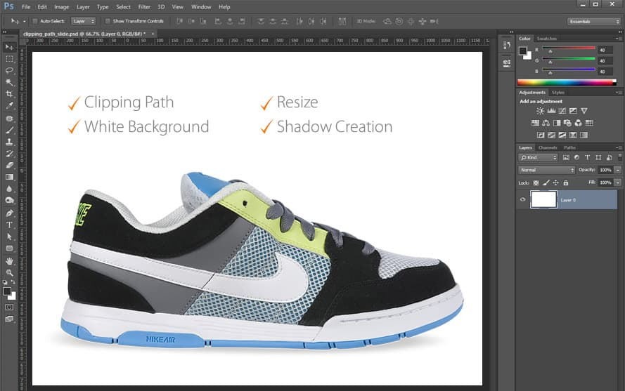Clipping Path shoe shadow example